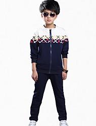cheap -Boys' Daily Print Clothing Set,Cotton Spring Fall All Seasons Long Sleeve Floral Navy Blue