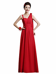 A-Line One Shoulder Ankle Length Chiffon Bridesmaid Dress with Flower(s) Sash / Ribbon by Yaying