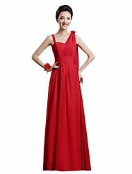 a-line un vestito chiffon dalla damigella d'onore della lunghezza della caviglia della spalla con il fiore (s) della fascia / del nastro da yaying