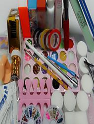 cheap -63Pcs Manicure Tools Suit Beginners Article 5ml Gel OPI Nail Box 100Pcs Nails