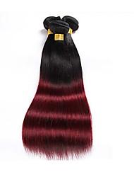 Недорогие -Бразильские волосы Прямой Натуральные волосы Омбре Ткет человеческих волос Расширения человеческих волос / 8A / Прямой силуэт