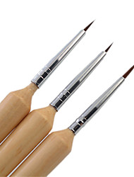 3Pcs/Set Wooden Handled Nail Brush For Acrylic Nail Art Painting Brushes Liner Pen Nail Tools