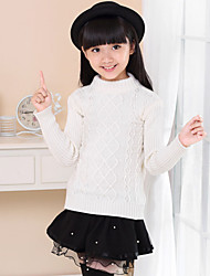 cheap -Girls' Daily Going out Solid Sweater & Cardigan,Cotton Winter Spring Fall Long Sleeve Check White Yellow Red Blue Pink