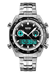 Skmei® Men's Fashion Round Dial Stainless Steel Strap Dual Time Zones Wrist Watch 30m Waterproof Assorted Colors