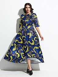 cheap -Women's Formal / Beach Fall / Winter Set SkirtPrint Shirt Collar  Length Sleeve Blue Polyester Opaque