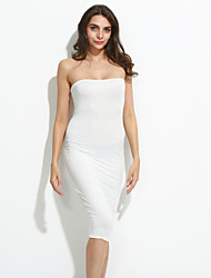 Women's Going out Sexy / Simple Bodycon / Sheath Dress,Solid Strapless Knee-length Sleeveless