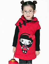 Girl's Daily Embroidered Dress,Cotton Winter Fall Sleeveless Dresswear Red