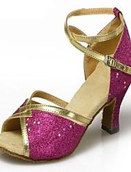 billige -Dame Sko til latindans / Ballet Paillette / Satin Sandaler Spænde Kegleformet hæl Kan ikke tilpasses Dansesko Blå / Gyldent / Rosa