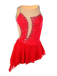 Figure Skating Dress Women's Girls' Ice Skating Dress Red Rhinestone High Elasticity Performance Skating Wear Handmade Patchwork