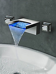 cheap -Contemporary Art Deco/Retro Modern Wall Mounted Waterfall LED Ceramic Valve Three Holes Two Handles Three Holes Chrome , Bathroom Sink