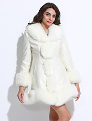 Women's Going out Sophisticated V Neck Long Sleeve Regular Faux Fur Ruffle