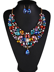 Women's Jewelry Set Pearl Rhinestone European Luxury Pearl Rhinestone Imitation Diamond 1 Necklace 1 Pair of Earrings For Daily Wedding