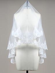 Wedding Veil One-tier Blusher Veils Fingertip Veils Lace Applique Edge Tulle