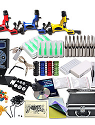cheap -Great Tattoo Kits 3 Rotary Machine New Design Power box 50 Tattoo Needles with Carrying Case LCD Power Supply 100 Tattoo Ink Cups 1 Practice Skin
