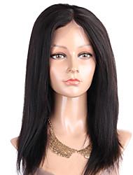 Grade 9A Peruvian Virgin Hair Full Lace Wig Yaki Straight Hair Natural Black Color 10-28 Inch 130% Density Lace Human Hair Wig Kinky Straight Hair