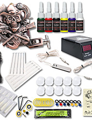 cheap -Tattoo Machine Starter Kit 1 cast iron machine liner & shader LCD power supply 1 x stainless steel grip 10 pcs Tattoo Needles