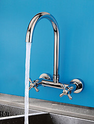 cheap -Contemporary Bar/­Prep Wall Mounted Ceramic Valve Two Handles Two Holes Chrome, Kitchen faucet