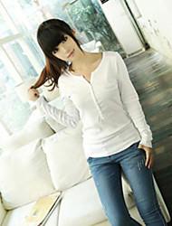 T-shirt Da donna Casual Semplice / Moda città Primavera / Autunno,Tinta unita A V Bianco / Nero / Grigio Manica lunga Medio spessore