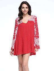 Ample Robe Aux femmes Décontracté / Quotidien / Vacances Bohème,Cachemire Col en V Mini Manches Longues Rouge Coton / Polyester Automne