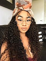 Χαμηλού Κόστους -Χωρίς επεξεργασία Ανθρώπινη Τρίχα Δαντέλα Μπροστά Χωρίς Κόλλα Περούκα στυλ Βραζιλιάνικη Σγουρά Περούκα 130% Πυκνότητα μαλλιών με τα μαλλιά μωρών Φυσική γραμμή των μαλλιών Γυναικεία Μακρύ