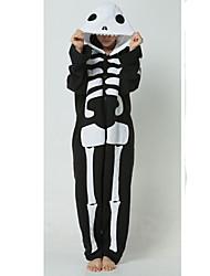 povoljno -Kigurumi plišana pidžama Duh Skeleton Onesie pidžama Kostim Flis Crna/Bijela Cosplay Za Zivotinja Odjeća Za Apavanje Crtani film Noć