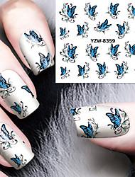 cheap -1pcs Blue Butterfly  Watermark  Nail Stickers Nail Art Design