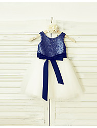 A-Line Knee Length Flower Girl Dress - Tulle Sequined Sleeveless Scoop Neck with Sequin by thstylee