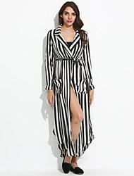 cheap -Women's Fine Stripe|Asymmetrical|Bow Daily Vintage Sheath Chiffon Dress