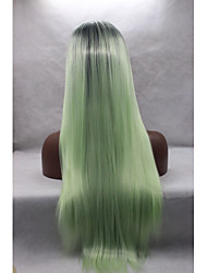 Synthetic Lace Front Wigs Black Roots Mint Green Ombre Silky Straight Synthetic Wig