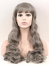 billige -Syntetiske parykker Naturligt, bølget hår Syntetisk hår Grå Paryk Dame Lang / Meget lang Lågløs