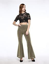 cheap -Women's Sexy Flared Pants Boot Cut Wide Leg High Elastic Waist Party Club Casual OL Trousers Cloth