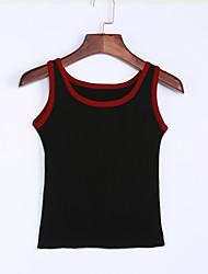 preiswerte -Damen Standard Weste-Lässig/Alltäglich Street Schick Patchwork Rot Weiß Schwarz Rundhalsausschnitt Ärmellos Polyester Sommer Dünn Dehnbar
