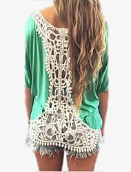 cheap -Europe blouses lace stitching bat sleeve T-shirt