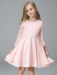 cheap -Girl's Daily Patchwork Dress,Polyester Spring Fall Sleeveless Lace Pink