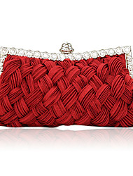 cheap -Women's Bags Satin Evening Bag Crystal / Rhinestone Fuchsia / Red / Ivory / Wedding Bags
