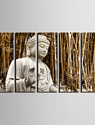 cheap -Stretched Canvas Art Landscape The Buddha In The Bamboo Forest Set of 5