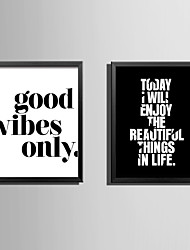 cheap -Framed Canvas Framed Set Words & Quotes Wall Art, PVC Material With Frame Home Decoration Frame Art Living Room Bedroom Kitchen Dining