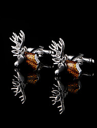 Deer Head Cufflinks For Men Copper Material Cuff Links Christmas gifts Father's Present Animal Jewelry With Gift Box