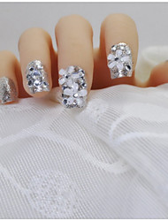 24 pezzi di finito un pezzo di fiori tranquillamente eleganti flash luminoso argento sposa una patch prodotto finito unghie finte