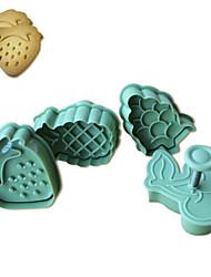 4pcs bolo padrão de frutas e cortador de biscoitos molde