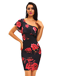 cheap -Women's Party Sexy Bodycon Dress,Floral Print One Shoulder Knee-length Sleeveless Polyester Spandex Summer High Rise Stretchy
