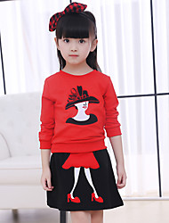 cheap -Girls' Daily Going out Patchwork Clothing Set, Cotton Winter Spring Fall Long Sleeves Black Red