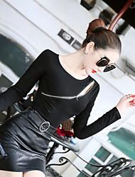 assinar moda selvagem sexy zipper dividir camisa de mangas longas bottoming camisa t-shirt das mulheres
