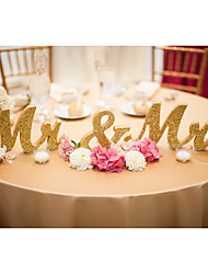 cheap -Wooden MR & MRS wedding items Wooden furnishing articles and gold glitter powder letters Wedding supplies
