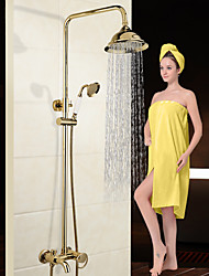 Luxury New Arrival Gold Brass Rainfall Shower Set Faucet  Tub Mixer Tap  Hand Held Shower Bath And Shower Faucet