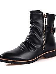 Недорогие -Черный-Мужской-Повседневный-Полиуретан-На плоской подошве-Удобная обувь-Ботинки