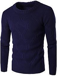 Standard Pullover Da uomo-Casual Semplice Tinta unita Blu Rosso Beige Nero Rotonda Manica lunga Cotone Poliestere Autunno InvernoMedio