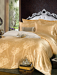 Duvet Cover Sets Floral Silk/Cotton Blend Silk/Cotton Blend 4pcs (1 Duvet Cover, 1 Flat Sheet, 2 Shams)
