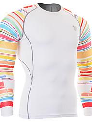 Per uomo T-shirt da corsa Manica lunga Traspirante Top per Esercizi di fitness Corsa Spandez Aderente Rosso/Bianco M L XL XXL XXXL