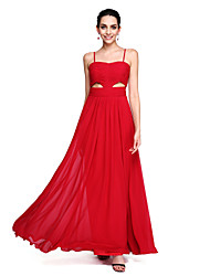 A-Line Spaghetti Straps Floor Length Chiffon Prom Formal Evening Dress with Ruching by TS Couture®